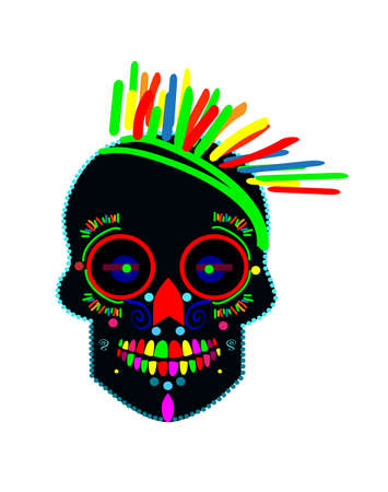 Skull vector neon colors isolated on the white background. Vettoriali