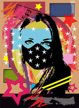 Girl with mask, pop art background with stars. Vector illustration Vectores