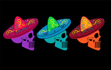 Mexican skulls with sombrero, vivid neon colors. Isolated on the black background