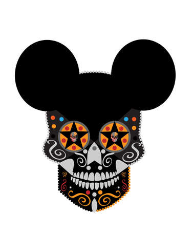 Skull mouse with star in the eyes, cartoon vector background