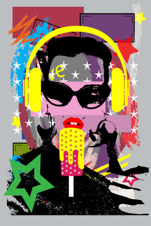 Girl listening music on headphones and eating ice cream. Colorful pop art background vector illustration. Vectores