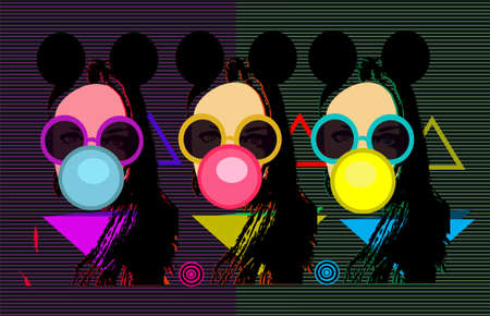 Retro pop art background with girls having sunglasses and chewing gum vector
