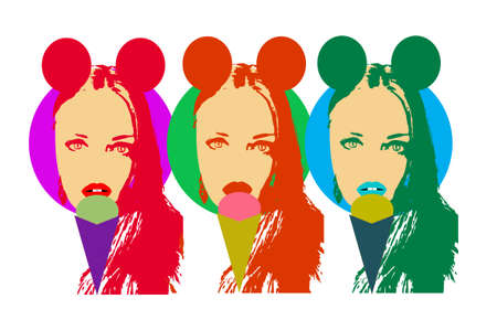 Retro pop art background with girls with mouse ears, eating ice cream vector. eps 10 file + jpg file Vectores