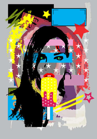 Portrait of a girl eating ice cream. Colorful pop art background with stars. Vectores