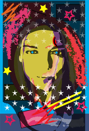 Portrait of a girl with stars. Colorful pop art background, vector illustration.