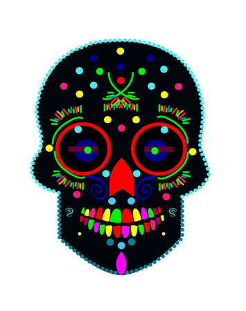 Skull icon, neon colors vector isolated on the white background.