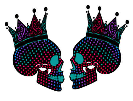 Skull king twins neon color isolated on the white background, vector illustration.