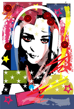 Girl with headphones and stars, pop art poster background