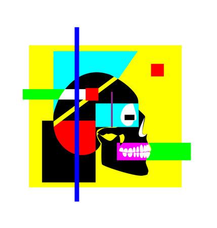 Futuristic Skull icon, modern art, colorful background vector illustration Vectores