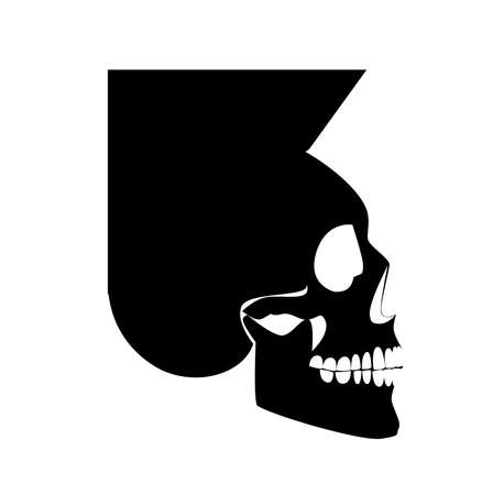 Skull icon with Mohawk, side view. Punk rock 80's black silhouette. Vector Illustration