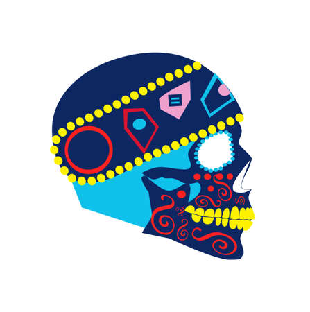 Colorful skull with motorcycle helmet side view, isolated on the white background. Vectores