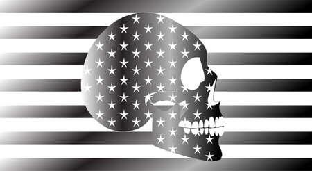 Skull icon USA flag, metallic grey, stripes background Vectores