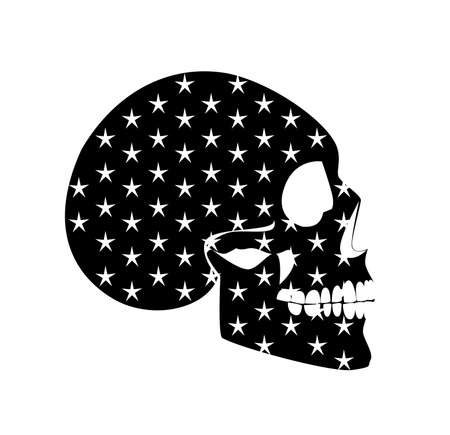 Skull icon black color with white stars, isolated on the white backgroud