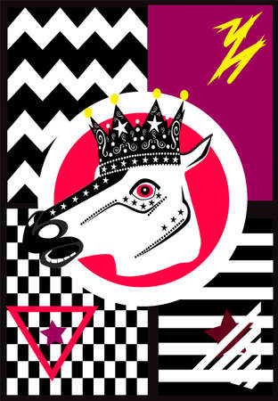 Horse with crown. Pink colorful skull icon, pop art background. Vectores