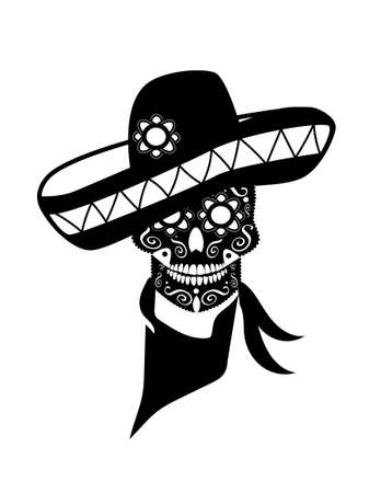 Mexican skull with sombrero, ornament details, black color isolated on the white background