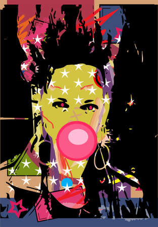Girl with chewing gum and punk haircut, pop art background Vectores