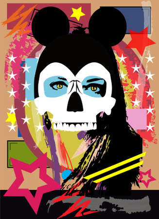 Sexy girl skull with mouse ears, pop art background