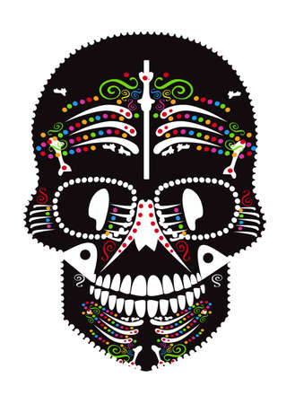 Skull icon with bones, black vector on the white background Vectores