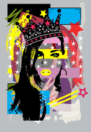 Queen, girl with crown and red lips, pop art background  vector