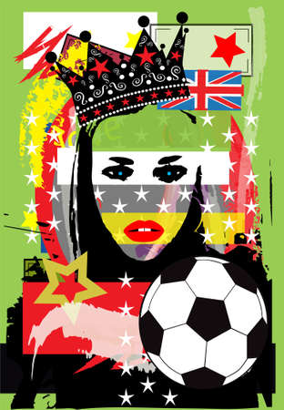 girl with crown, British flag and football ball pop art background  vector