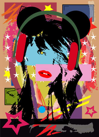Sexy girl with mouse ears and headphones, pop art background