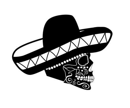 Mexican skull sombrero, side view ornament details, vector illustration