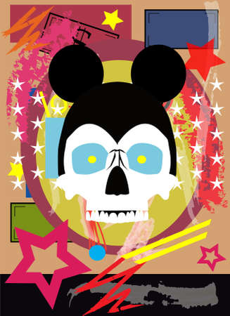 Skull with mouse ears, pop art stars background vector.