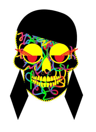 Skull vector fashion girl with black hair and earrings, colorful face and red eyelashes Vectores