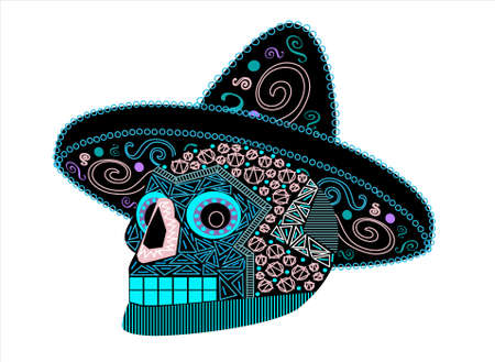 Skull witch with hat, ornament details, vector.