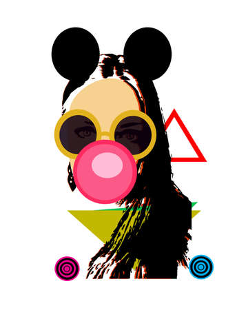 Sexy girl with mouse ears and chewing gum, pop art background