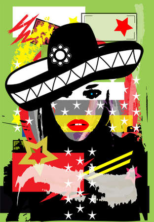 Sexy Mexican girl with sombrero, pop art background poster. Vector illustration