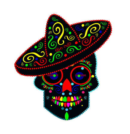 Mexican skull sombrero, neon colors and ornament details.