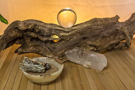 Crystal ball with incense