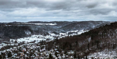Snow over the roofs of the small town of Murrhardt in the Swabian-Franconian Forest
