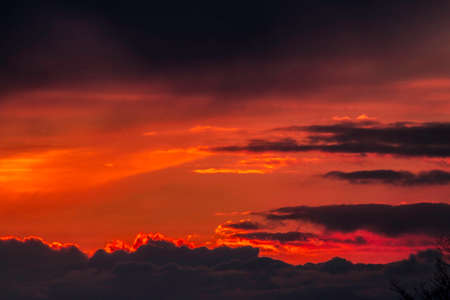 Magical sunset with abstract clouds