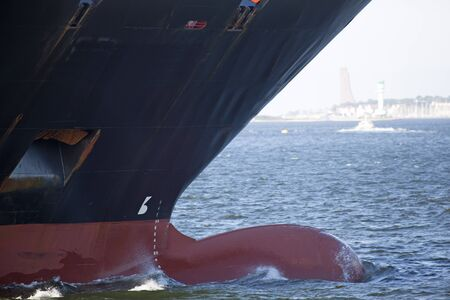 kiel fjord: Bow of a cargo ship in the Kiel Fjord, Germany