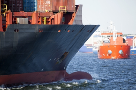 keel: Bow of a cargo ship in the Kiel Fjord, Germany