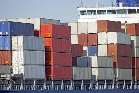 keel: Container ship at the Kiel Canal, Kiel, Germany Stock Photo