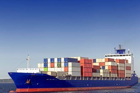 keel: Container ship at the Kiel Canal, Kiel, Germany Editorial