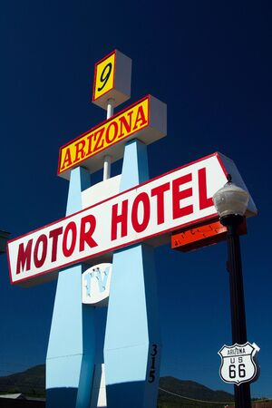 WILLIAMS (ARIZONA), USA - AUGUST 14. 2009: View on isolated classic Motor Hotel sign against blue sky at Route 66 Editorial