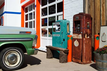 WILLIAMS (ARIZONA), USA - AUGUST 14. 2009: View on retro petrol pumps at car repair shop on Route 66
