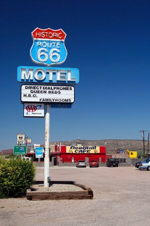 SELIGMAN (ARIZONA), USA - AUGUST 14. 2009: Motel sign of Roadkill Cafe at Route 66