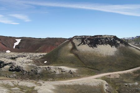 Surreal isolated crater in unreal barren landscape - Laki volcano crater, Iceland