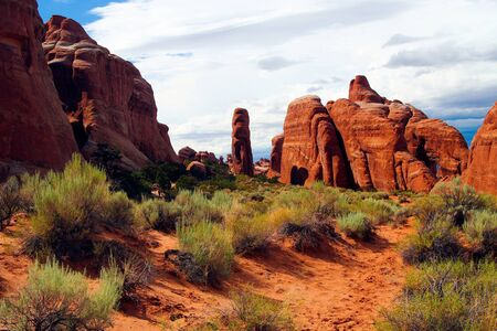 View over red sand with dry grass tufts on sandstone formation - Devils garden, Arches national park, Utah
