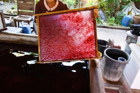 Frau mit Rohmaterial in einem Rahmen für Papierschirme im Dorf Bo Sang, Chiang Mai, Thailand fixiert?