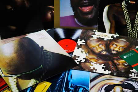 VIERSEN, GERMANY - MARCH 10. 2019: View on collection of Isaac Hayes vinyl records