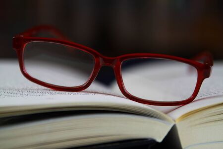 View on pages of open book with red reading glasses