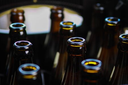 Close up of brown empty beer bottles in a case