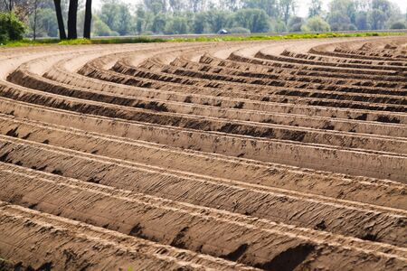 View on plowed tilled cropland with symmetrical curved furrows in Netherlands near Roermond