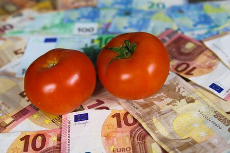 Healthy balanced nutrition cost concept - Two tomatos on euro paper money bank notes